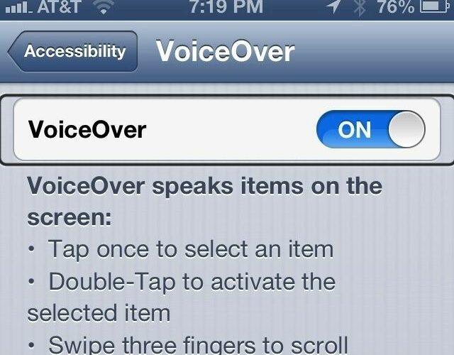 iPhone Via VoiceOver Feature